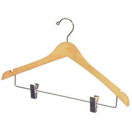 Hangers with Clips Solid Wood Pack of 10