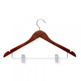 Hangers with Clips Wooden Walnut Finish Pack of 6