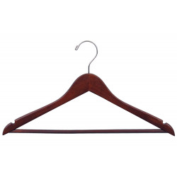 Suit Hangers Wooden Walnut/Chrome Finish Pack of  6