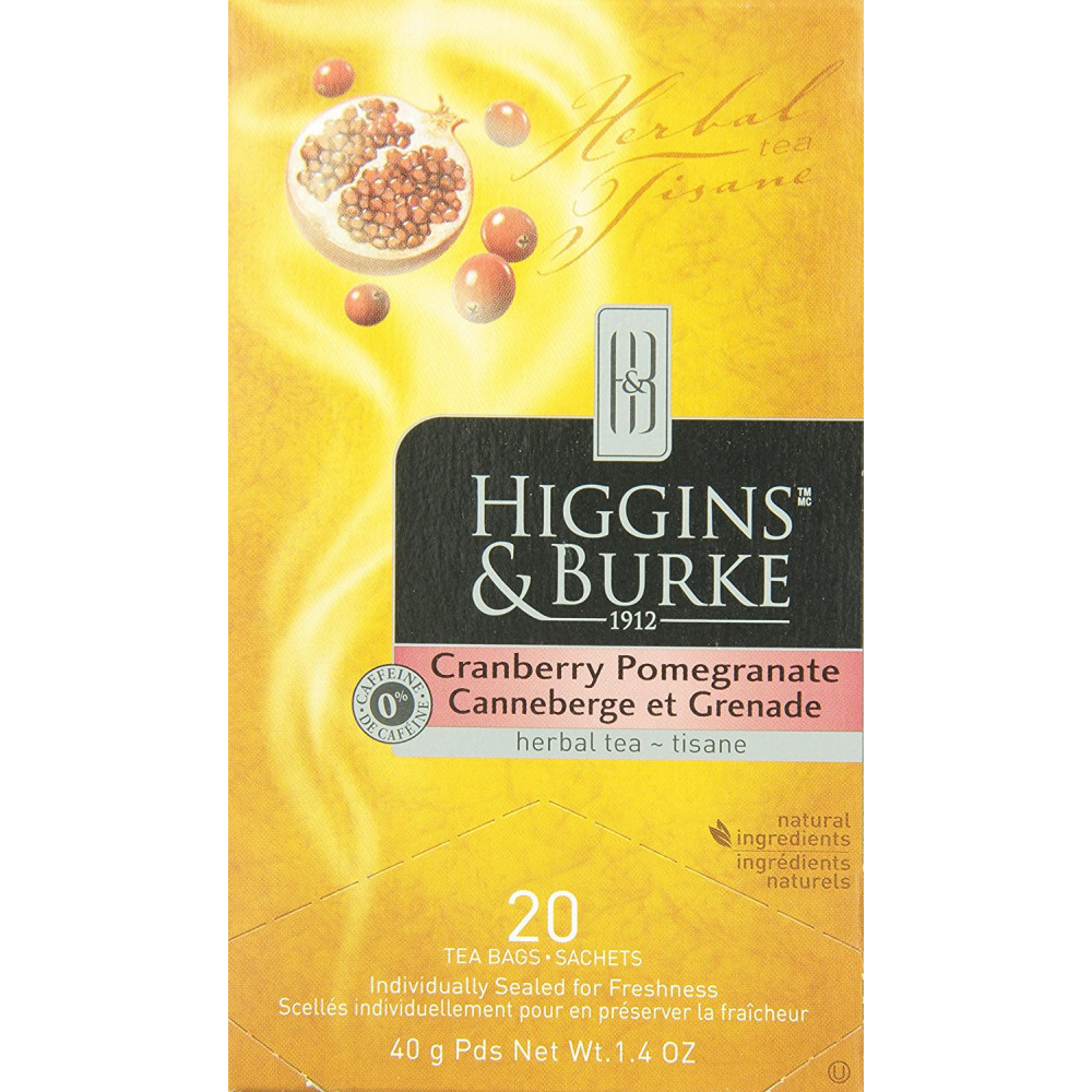 Higgins and Burke Tea Cranberry Pomegranate 20 Bags count 12 per pack
