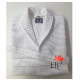 Hotel Spa Robes Waffle Weave Shawl Collar, White Color 2XL 2/Pack