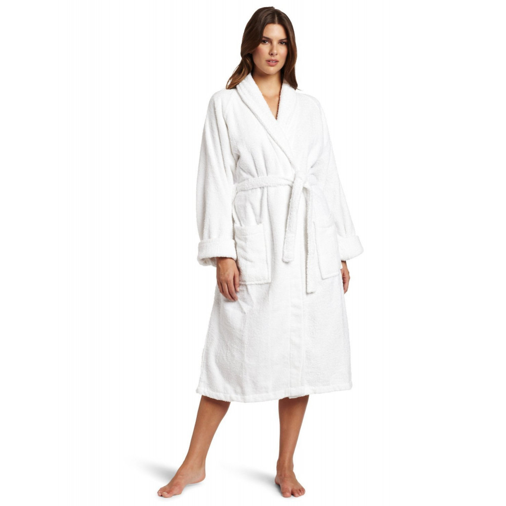 Hotel spa robes fleece ribbed pattern shawl collar white for Spa uniform cotton
