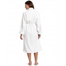 Hotel Spa Robes Fleece Ribbed Pattern Shawl Collar white Unisex Size 2/Pack