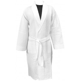 Hotel Spa Robes Waffle Weave Shawl Collar, White Color Medium 1/Pack