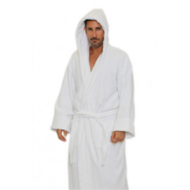 Hotel spa Robes Luxury Velour Plush Hooded Style, white Unisex 100% Cotton 2/Pack