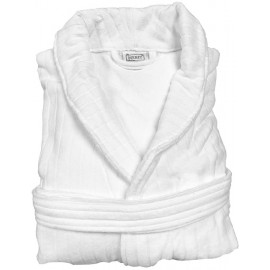 Merit Collection Heavenly Velour Stripe Plush Shawl Collar Unisex Large size White 1/Pack