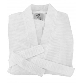 Hotel Spa Robes Waffle Weave Kimono Collar White 1/Pack