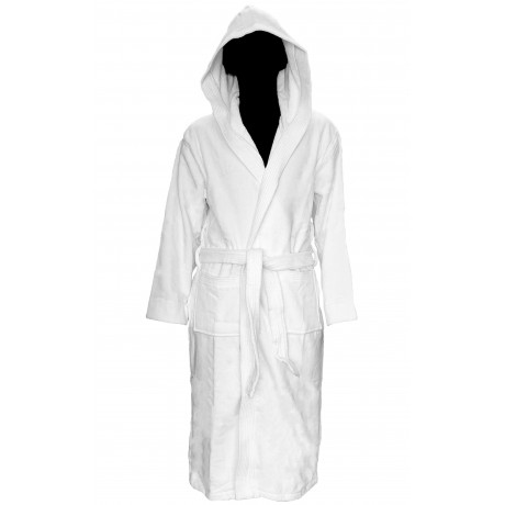 Hotel spa Robes Luxury Velour Plush Hooded Style, white Unisex 100% Cotton 1/Pack