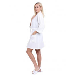Hotel Spa Robes Waffle Weave Kimono Collar White 2/Pack