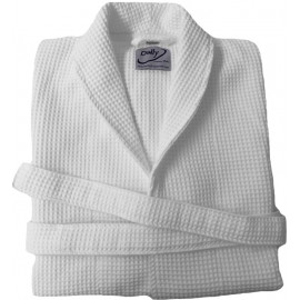 Hotel Spa Robes Waffle Weave Shawl Collar, White Color Small 2/Pack
