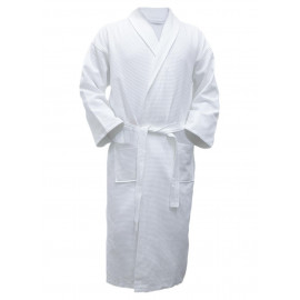 Hotel Spa Robes Waffle Weave Shawl Collar, White Color Unisex 2/Pack