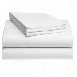 "Merit Collection Premium TC300 Sateen Finished Percale King XL FLAT Sheets 120""x 120"" White 2/Pack"