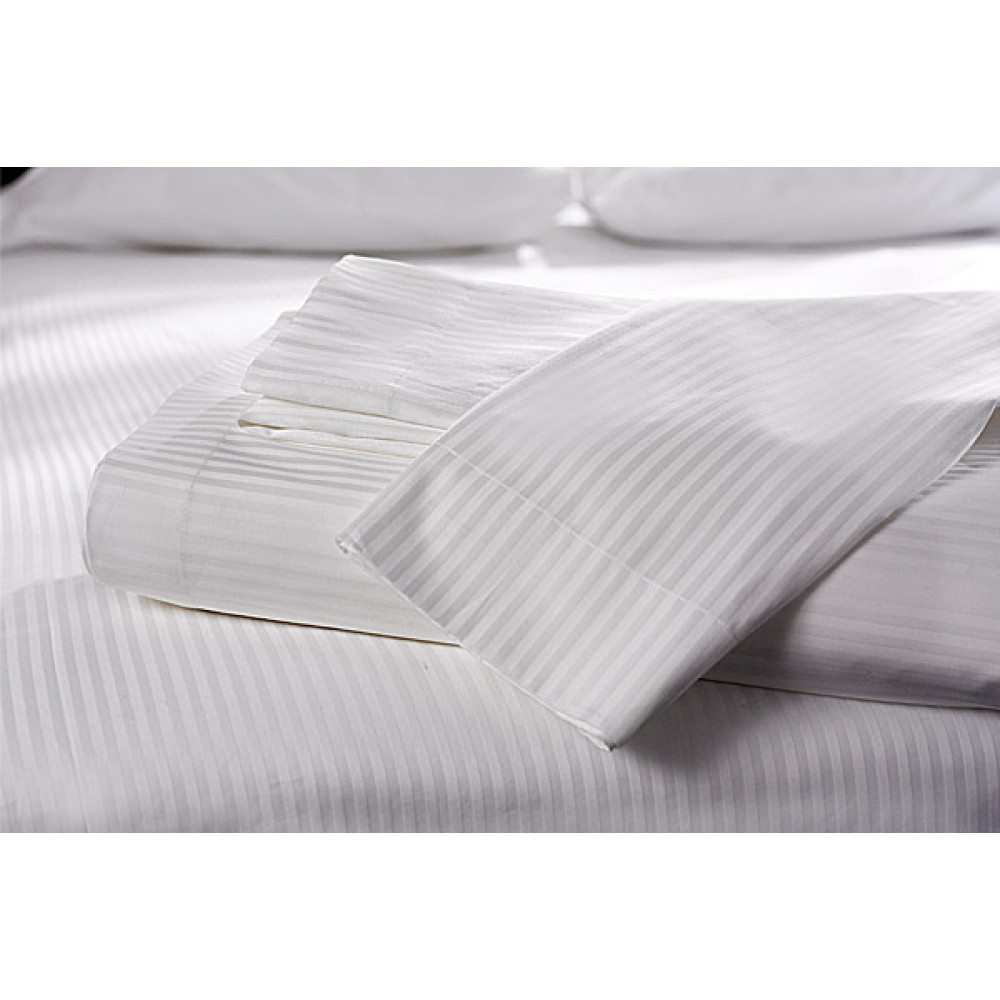 Twin Sheets Stripe TC260 Luxury Percale (60%C-40%P) Flat/Fitted 6/Pack