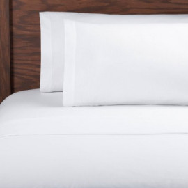Queen Size Sheets White TC200 Percale (50%C-50%P) Flat/Fitted 2/Pack