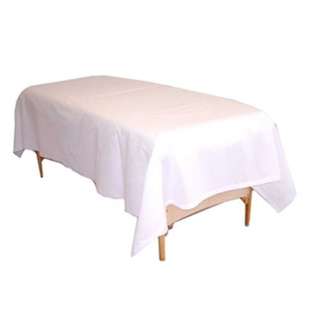 "Massage Sheets Economy TC180 Percale Flat 66"" x 104"" White 6/Pack"