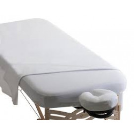 Merit Spa Collection™ Poly-cotton T-200 Massage Sheet Set -Commercial Grade, 3-Piece Set (Top, Fitted, Face Rest Cover) White