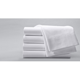 "Merit Collection Luxury TC300 Sateen Finished Percale Double FITTED Sheets 54""x 80""x15"" White 1/Pack"