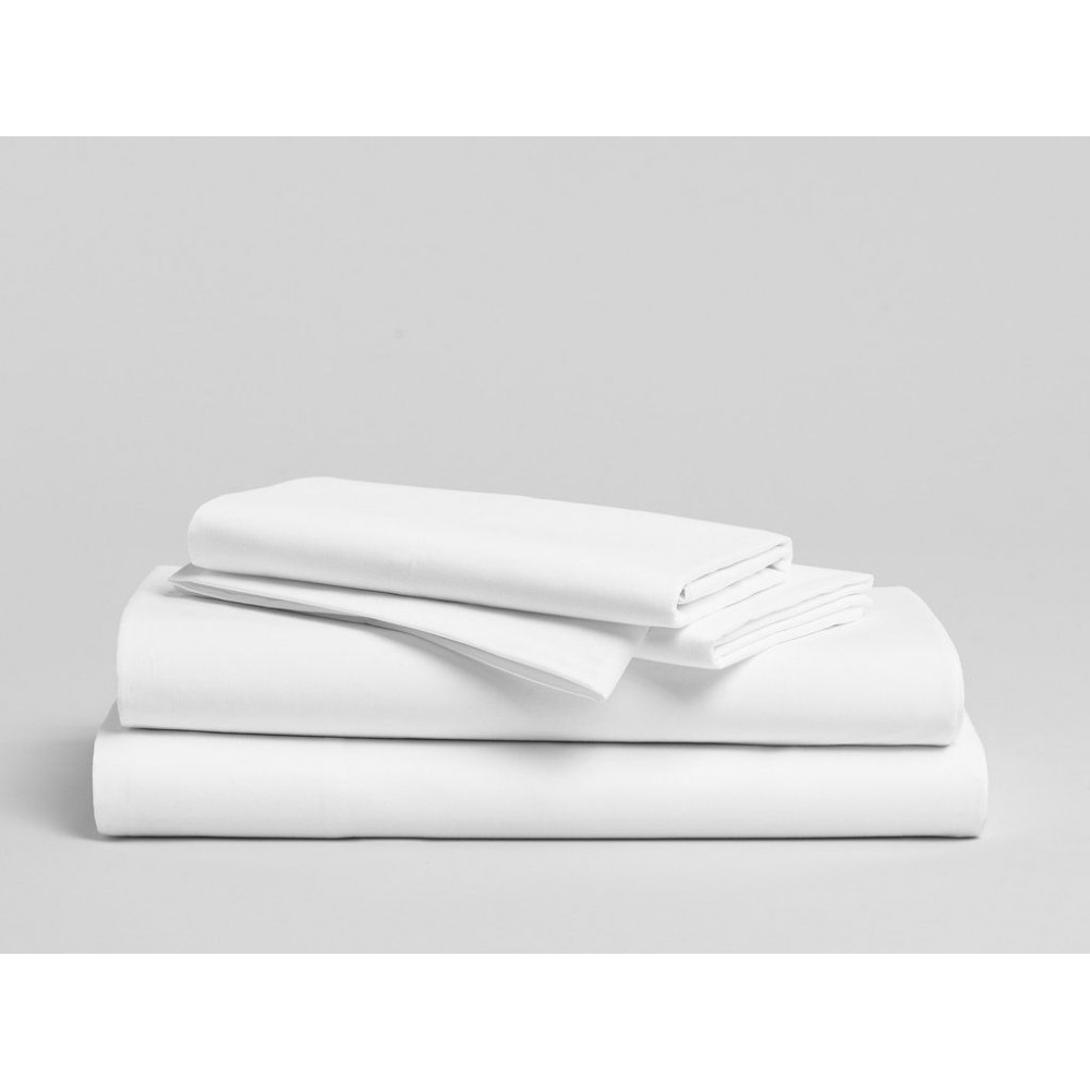 "Merit Collection Luxury TC300 Sateen Finished Percale King FLAT Sheets 108""x 120"" White 1/Pack"