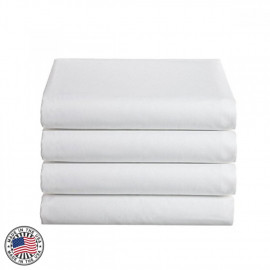 "Thomaston Mills T-180 Percale King FLAT sheet 108""x115"" Made in USA White 2/Pack"
