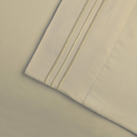 Solid Bed 4 Pieces Microfiber Deep Pocket Sheet sets King Size Tan