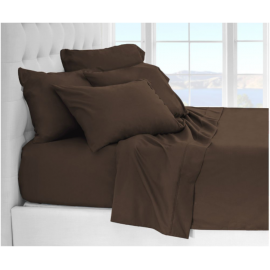 Solid Bed 4 Pieces Microfiber Deep Pocket Sheet sets Full Size Cocoa
