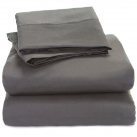 Solid Bed 4 Pieces Microfiber Deep Pocket Sheet sets King Size Grey