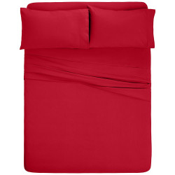 Microfiber Sheet Sets with Deep pockets- Hypoallergenic Red Color
