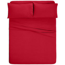 Solid Bed 4 Pieces Microfiber Deep Pocket Sheet sets Queen Red