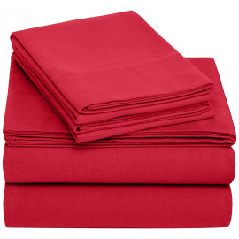 Solid Bed 4 Pieces Microfiber Deep Pocket Sheet sets King Size Red