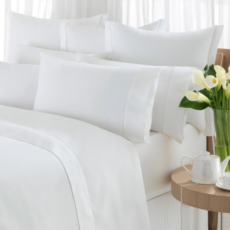 Twin Sheets White TC180 Percale (50%C-50%P) Flat/Fitted 6/Pack