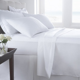 "Thomaston Mills T-250 Percale King FLAT sheet 108""x115"" Made in USA White 2/Pack"