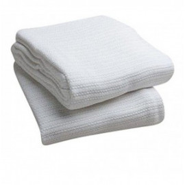 "Thermal Blankets 100% Cotton 66""x 90"" White Pack of 2"