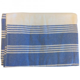 "Gold+Cross Hospital Flannel Bath Blankets 100%Cotton 72""x 100"" Ivory with Blue Stripes 5/Pack"