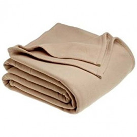 "Adonis Fleece Blanket Cozy 100% Polyester QUEEN size 90""x 90"" Tan 2/Pack"