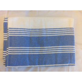 "Hospital Flannel Bath Blankets 100%Cotton 72""x 90"" Ivory with Blue Stripes 2/Pack"