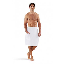 Men's Spa Waffle Wraps White 2/Pack
