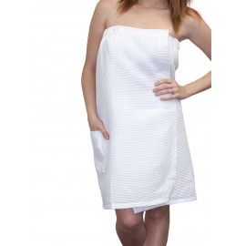 Women's Spa Waffle Shower Bath Wrap w/Pockets Unisex White 2/Pack
