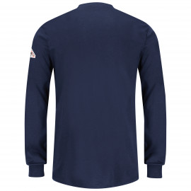 Bulwark Women Long Sleeve Tagless  Henley Shirt Navy