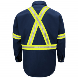 Bulwark Dress Uniform Shirt With  Reflective Trim Navy