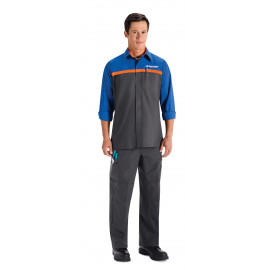 Red Kap Ford Quicklane Technician Shirt Long Sleeve Charcoal/Royal Blue with Orange Stripe 3/Pack