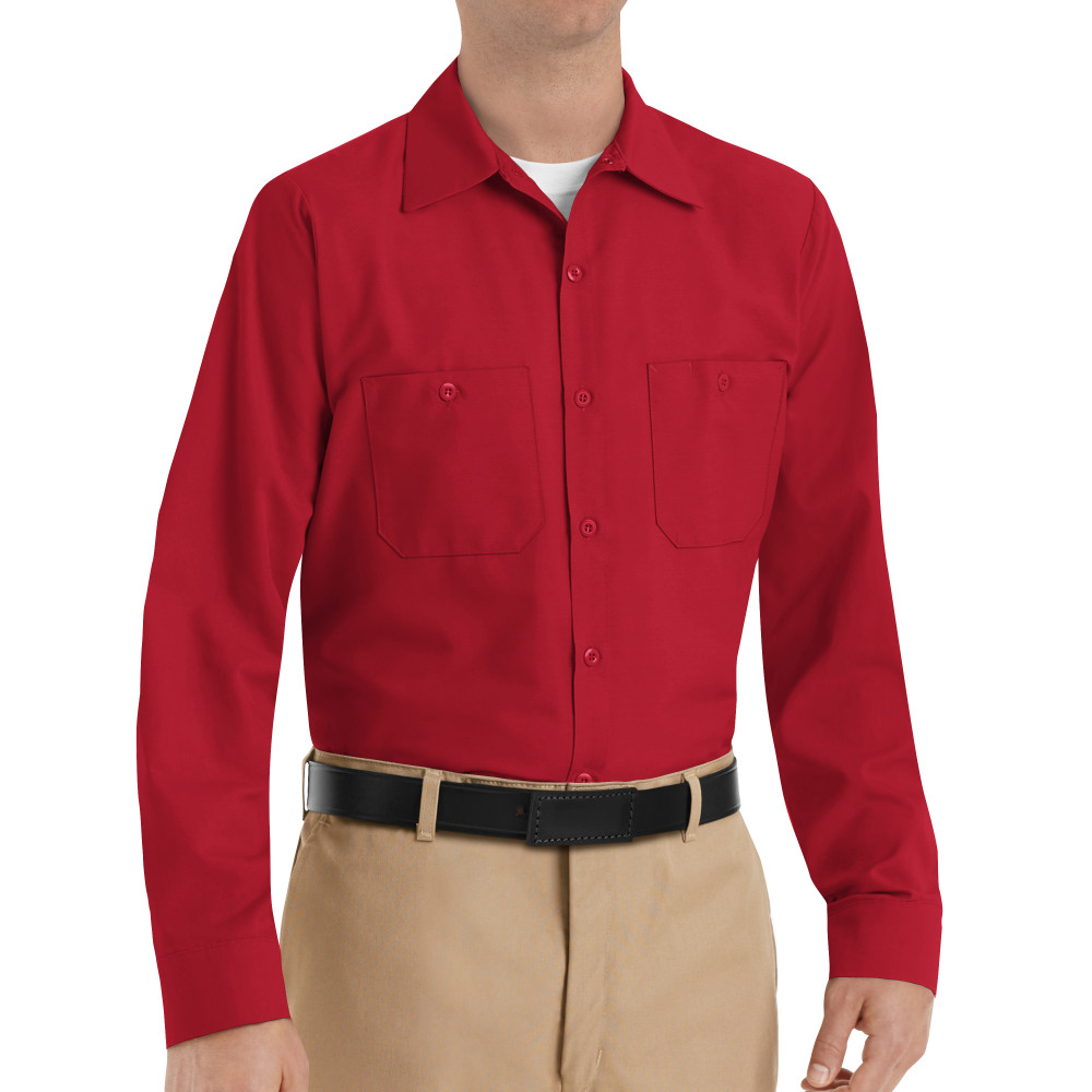 c0df63c63a Red Kap Industrial Solid Work Shirt Long Sleeve Red 4 Pack