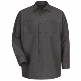 Red Kap Industrial Solid Work Shirt Long Sleeve Charcoal 4/Pack