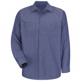 Red Kap Industrial Stripe Work Shirt Long Sleeve Grey/Blue 4/Pack
