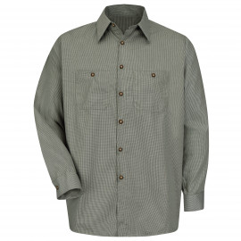 Red Kap Microcheck Workshirt Hunter Green/Khaki Check 3/Pack