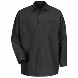Red Kap Industrial Solid Work Shirt Long Sleeve Black 4/Pack