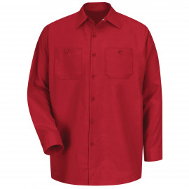 Red Kap Industrial Solid Work Shirt Long Sleeve Red 4/Pack