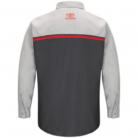 Red Kap Toyota Men's Long Sleeve Technician Shirt-charcoal/grey 3/pack