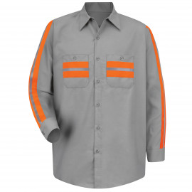 Red Kap Men's Large Light Grey With Orange Visibility Trim Enhanced Visibility Shirt 2/Pack