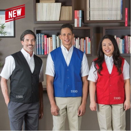Premium Work Vest poly-cotton w/snaps and 2 pockets Multi-color 2/Pack