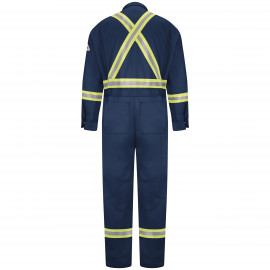 Bulwark Men 9OZ Premium Coverall with Reflective Trim Navy Color